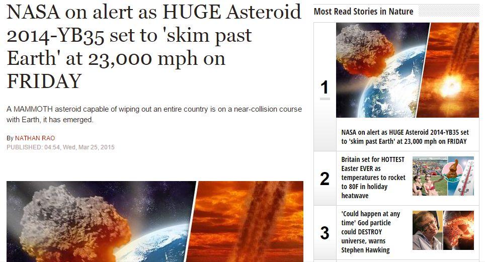 【NASA】今週の金曜日に1000mの巨大隕石が地球に最接近…教授「地球へ損害を与える脅威はある」