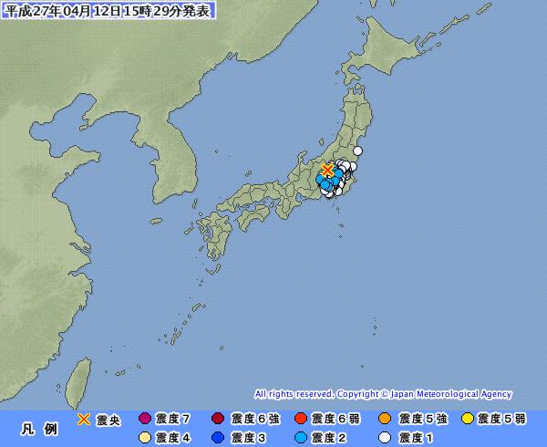 関東地方で最大震度2 M4.2 深さ140km 震源地は群馬県南部