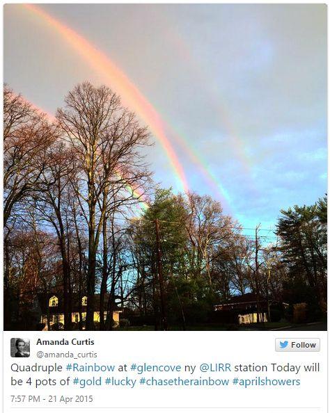 ニューヨークの空に「四重の虹」が出現!ツイッターで話題に