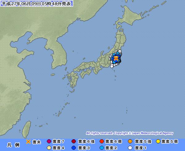 関東地方で最大震度4の地震発生 M4.7 震源地は茨城県南部…昨日8日には青森県でも震度4 続くM5クラス