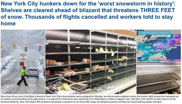 ニューヨーク市長「これまでに見たこともないような吹雪が来る」 歴史的な猛吹雪か…ニューヨークやボストンで90センチの雪のおそれ