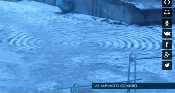 【UFO】雪の上に不思議な円形の跡、ミステリーサークルか?