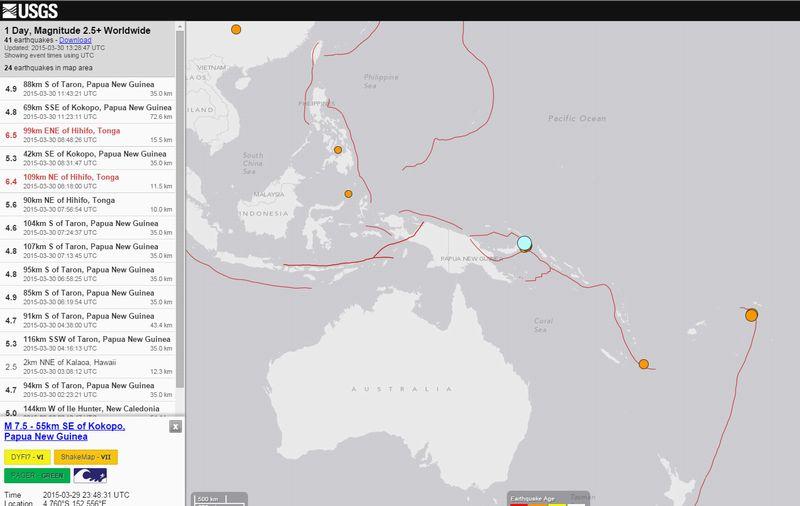 パプアニューギニアでM7.5の地震…M5クラスの余震続く