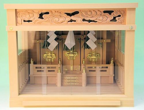注連縄付きの雲彫仕様 柵付きの小型箱宮神殿