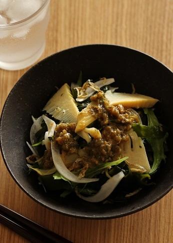 筍とわかめと新玉ねぎのふき味噌サラダ1