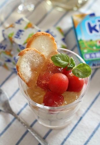 トマトのコンソメジュレのグラスティラミス
