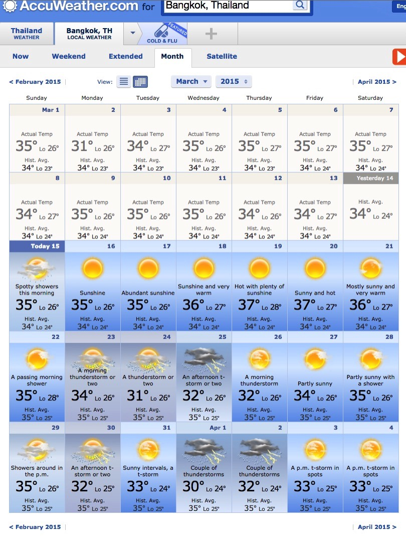 Bangkok March Weather 2015 AccuWeather Forecast for Krung Thep Thailand