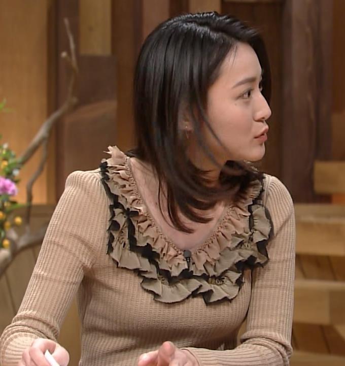 小川彩佳 タイトなセーターとおっぱいキャプ画像(エロ・アイコラ画像)