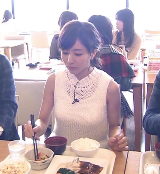 田中みな実 ノースリーブニットのおっぱいキャプ画像(エロ・アイコラ画像)