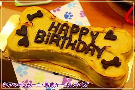 誕生日ケーキは馬肉ケーキの大きいサイズ★